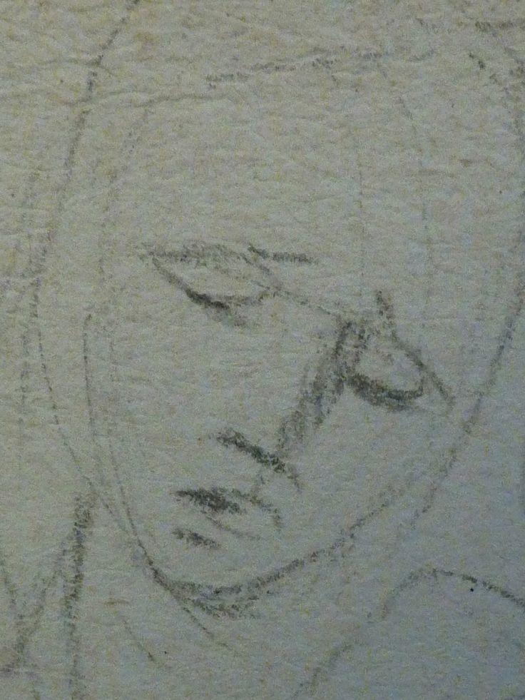 AVELLINO Anofrio - Le Christ mort soutenu par la Vierge et un Ange - drawing - Détail 09 - Vierge de douleur, tête - Virgin's head in pain -