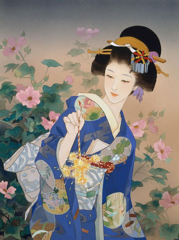 Ukiyo-e, The floating world is revisited by former kimono painter, Haruyo Morita. By adding movement and vivid colours SHE shows the adaptability of  Traditional Japanese art to our globalized World.
