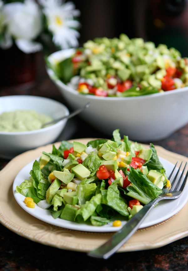 Avocado and Corn Salad with Creamy Avocado Dressing and a Hass ...