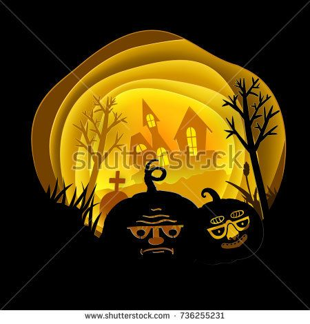 Paper cut out design of Halloween night with black castle and two cute Pumpkins. Vector art illustration. Greeting retro styled card with cartoon silhouette characters. Holiday banner