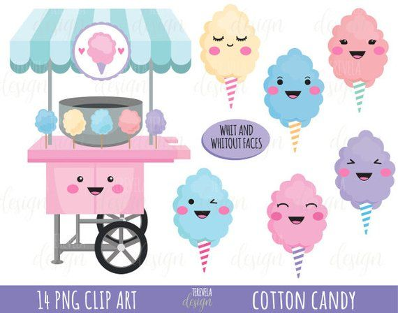 50 Sale Cotton Candy Clipart Cotton Candy Printable Commercial Use Candy Clipart Instant Downlo Candy Clipart Clip Art Cotton Candy
