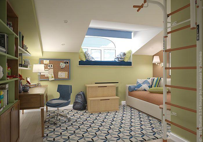 Оформление комнаты мальчика-подростка в двухуровневой квартире в центре столицы.