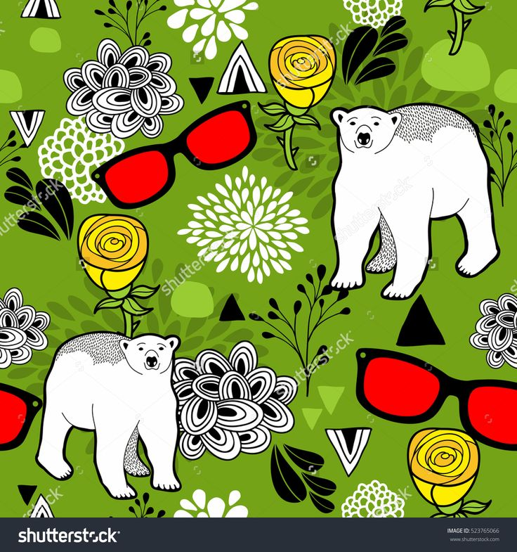 Polar bears and floral elements. Female seamless pattern in vector. Doodle eyeglasses for hipster style.