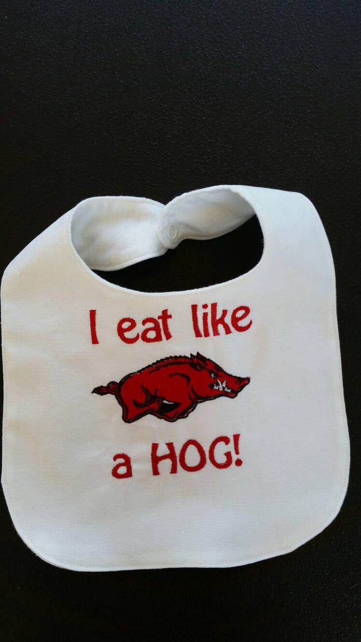 Arkansas razorback baby bib by CarolAnnsMonograms on Etsy                                                                                                                                                                                 More