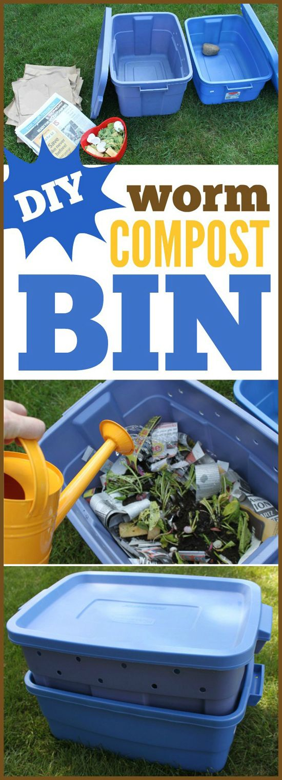 DIY worm compost bin. Use what you normally toss for gardening later. Start now for summer!