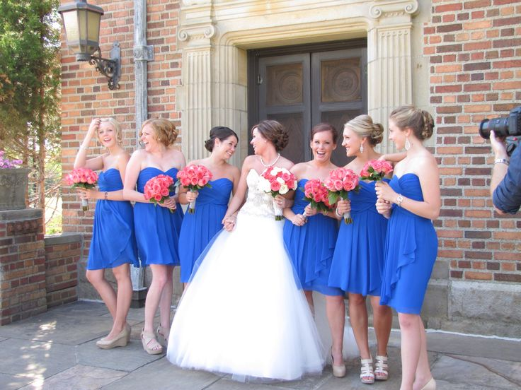 Royal blue and coral wedding