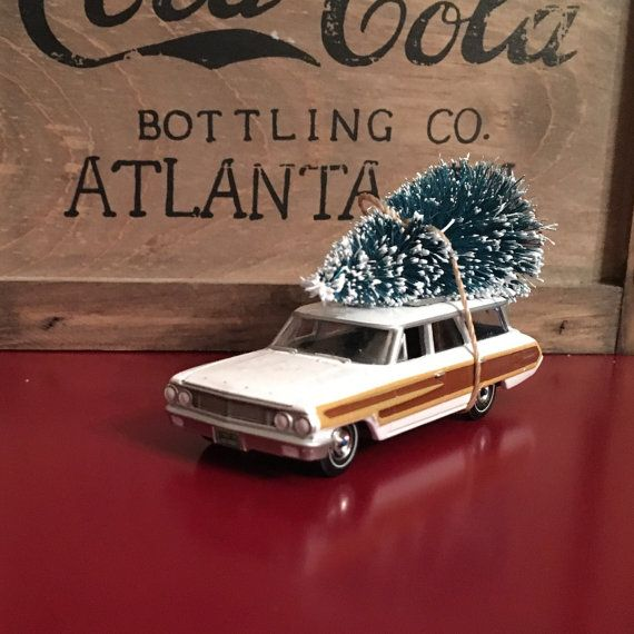 Station Wagon Carrying Christmas Tree Ornament by juniperjade
