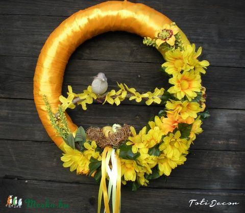 Meska - Húsvéti, tavaszi színes madaras ajtódísz, kopogtató,koszorú  TotiDecor kézművestől