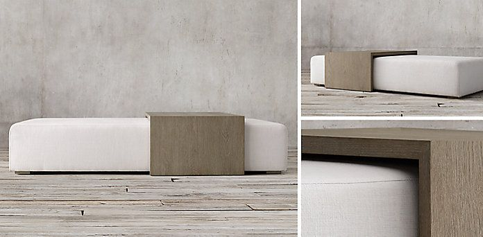 Bridge Fabric Coffee Table Ottoman Collection | RH