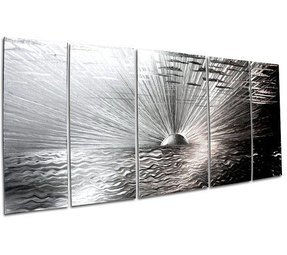 Sunset Wall Panel 'Awakening'  48x20 in  5Panel by ChromaMetalArt, $490.00