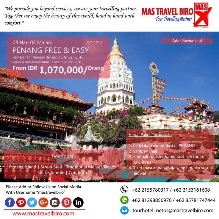 Paket tour ke PENANG FREE & EASY 3 Hari 2 Malam, mulai dari harga Rp 1.070.000/Pax. Pesan sekarang di MAS Travel Biro   (Harga tidak termasuk tiket pesawat)   #mastravelbiro #promotravel #travelagent #tourtravel #tourtravelmurah #travelservices #tiketpesawat #travelindonesia #opentrip #familytour