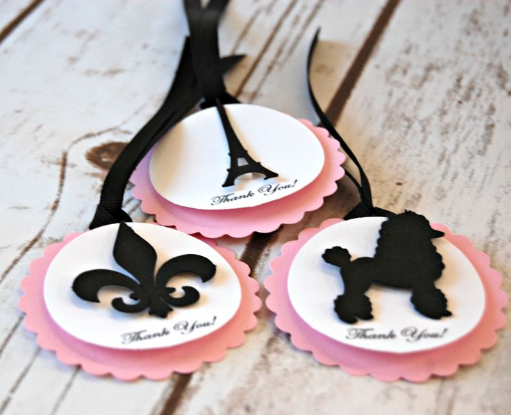 Paris Themed Birthday Party Favor Tags (set of 12)