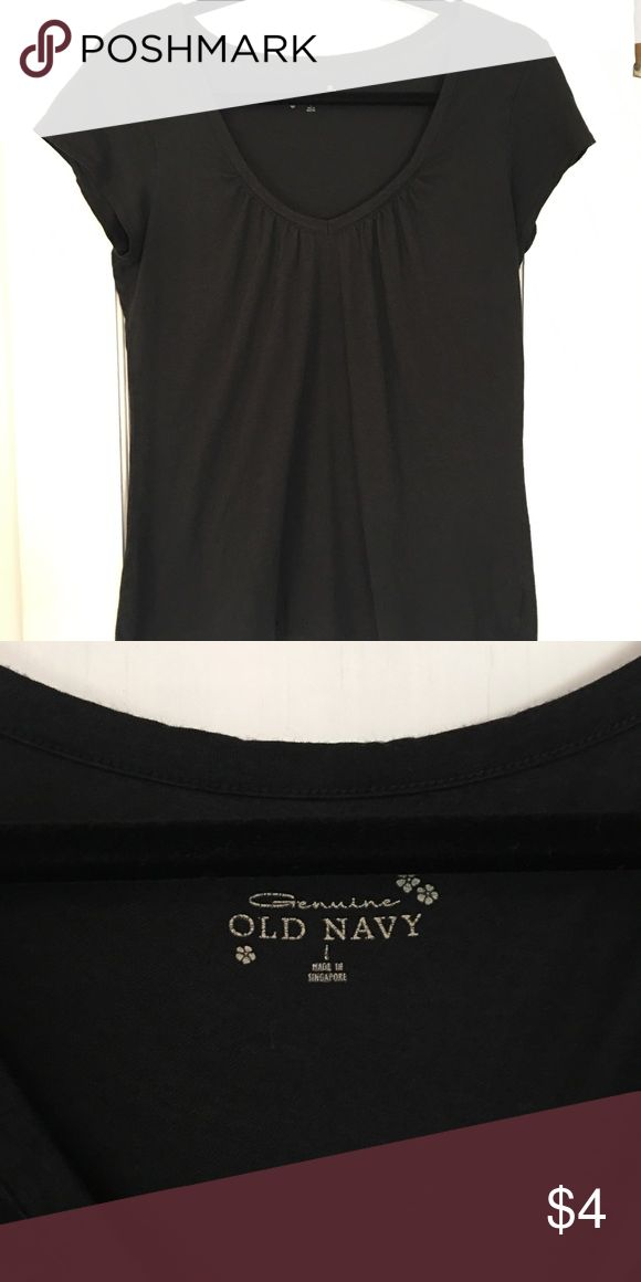 Old Navy Tee, Size Large Black V-Neck Slouchy Tee with gathering around the neckline, Size Large. Well loved but lots of life left! Old Navy Tops Tees - Short Sleeve