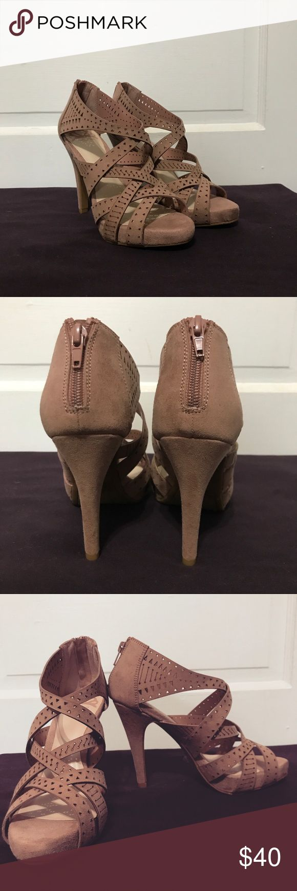 Pink suede heels Pink suede heels with zipper back - Size 6.5 but runs a little big (would most likely fit someone who wears a 7). Brand new! Never worn! Fergalicious Shoes Heels