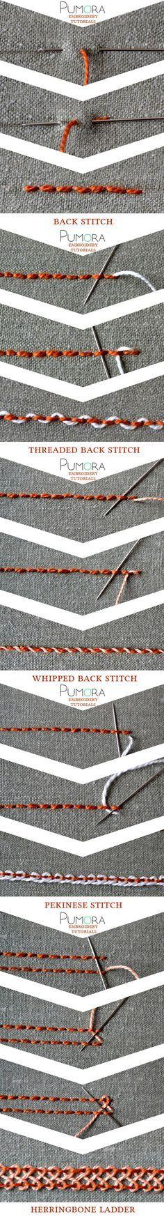 embroidery tutorials: backstitch with variations bordado, ricamo, broderie, sticken                                                                                                                                                                                 Más
