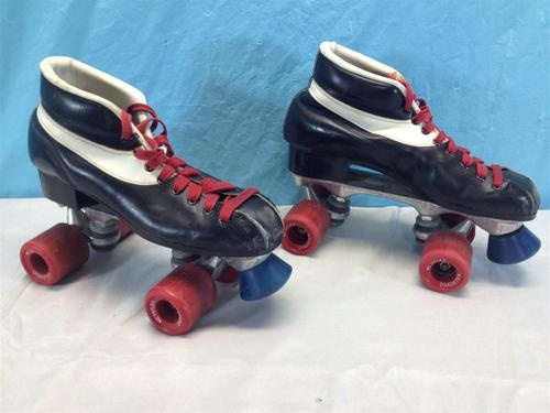 Vintage Antique Pacer Black Leather Roller Skates Mens Sz