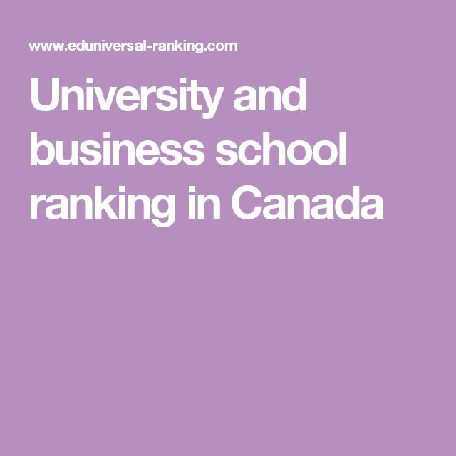 University and business school ranking in Canada