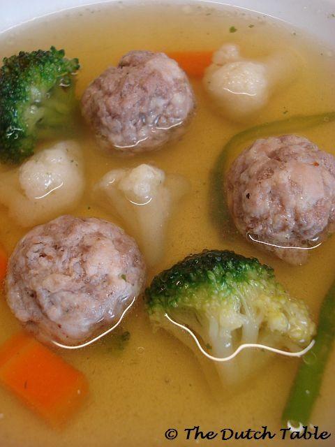 Groentesoep met balletjes (Dutch Vegetable Soup with Small Meatballs)