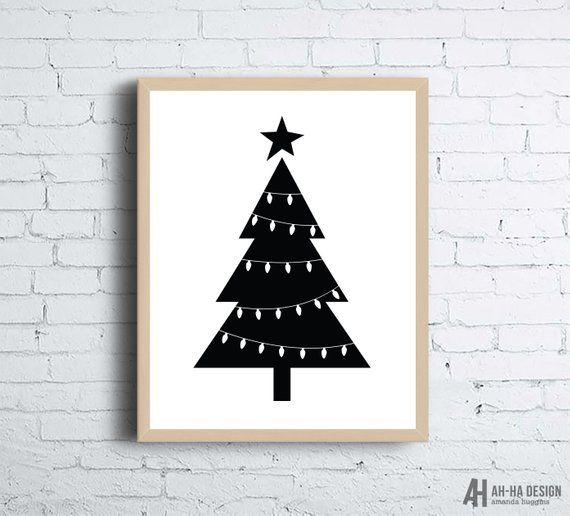 Christmas Tree Minimal Scandinavian Style Printable Wall Art Monochrome Christmas Wall Art Print Christmas Tree Art Printable Wall Art Christmas Wall Art