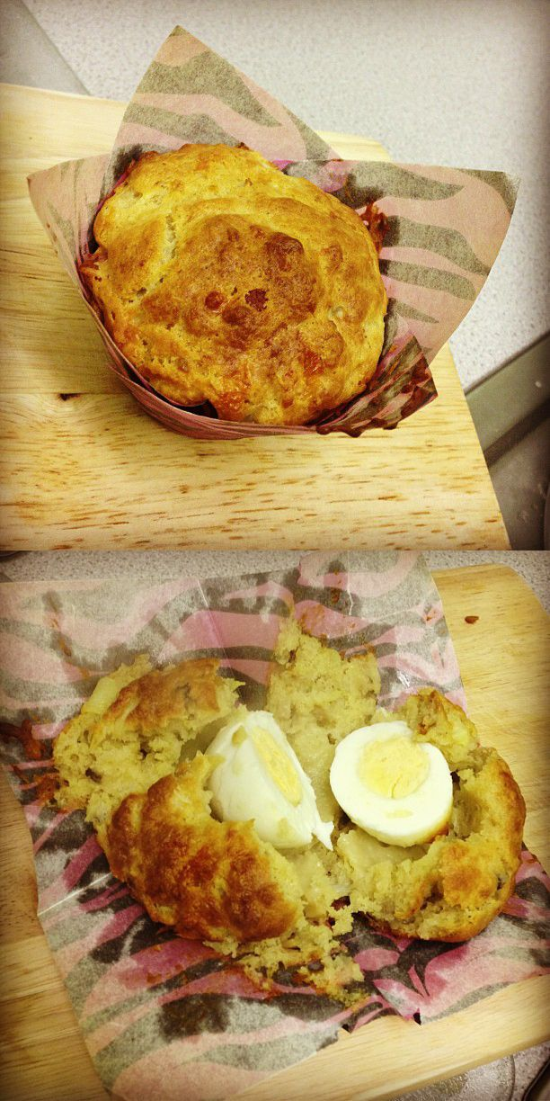Breakfast muffins with a secret egg!
