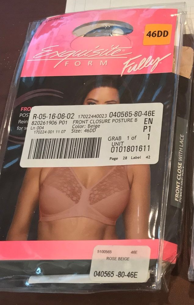 Exquisite Form Women/'s Fully Front Close Posture Bra 5100565 Rose Beige 46DD