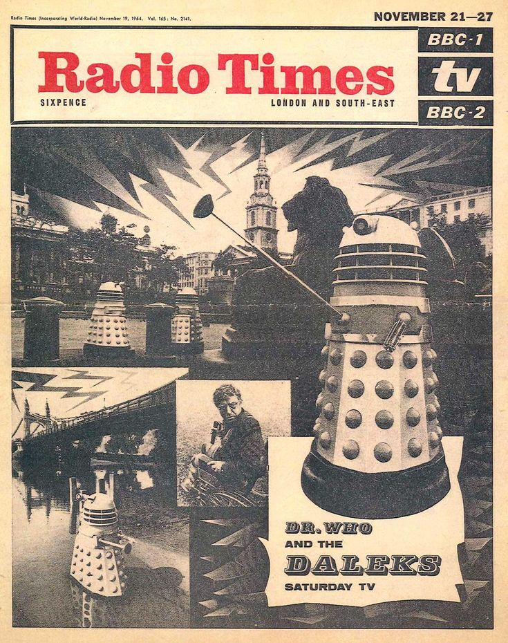 Radio Times cover featuring Doctor Who and the Daleks. BBC TV, November 1964