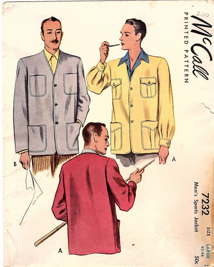 Vintage Original 1940s McCall 7232 Men's Sports Jacket Factory Folded Sewing Pattern Size Large 42-44 by BizzieLizzies on Etsy