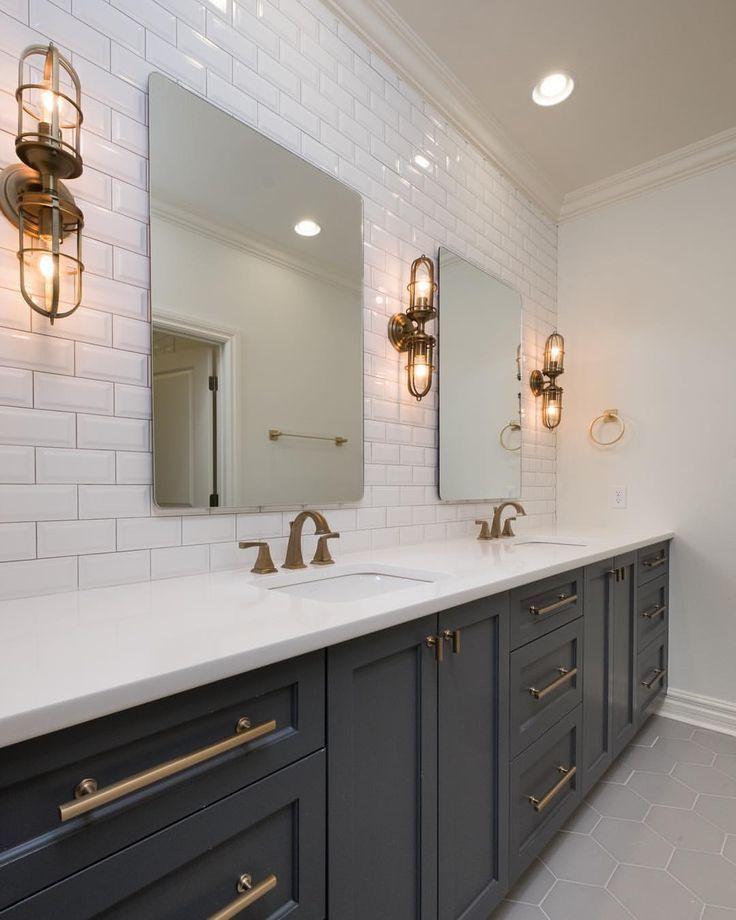 Dark Cabinets Gold Hardware Subway Tile Bathroom Bathroom