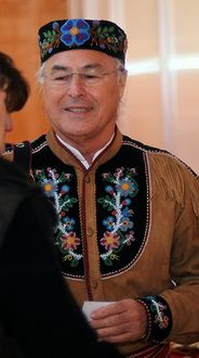 Stunning beading and bedwork on traditional Métis hat and jacket.