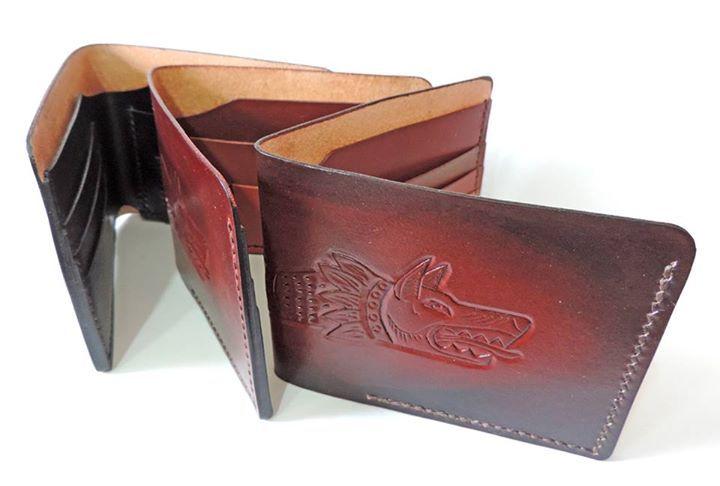 Handmade leather wallet, draco, ancient Dacian symbol  www.atelieruldeistorie.ro