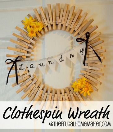 Clothespin wreath. I haven't liked the way these wreaths/ sunburst mirrors look until right about now! SO SO cute! and the flowers can be changed out to other small decorating things depending on the season. I'm making this to hang on the outside of my laundry closet door!!!