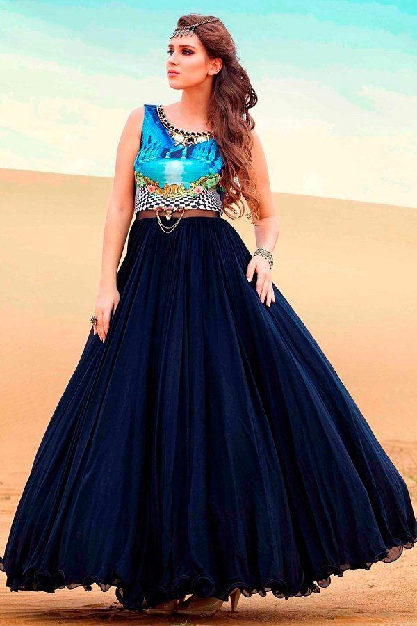 Navy Designer Long Anarkali Frock Salwar Suit