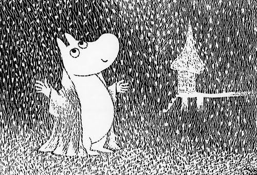"""This is snow,"" Moomintroll whispered to himself. ""I've heard about it from…"