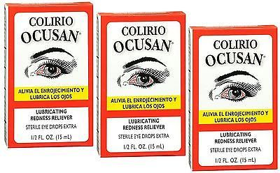 Eye Drops and Wash: Colirio Ocusan Lubricating Redness Reliever Sterile Eye Drops 15 Ml, 3 Pack 8Pk -> BUY IT NOW ONLY: $38.84 on eBay!