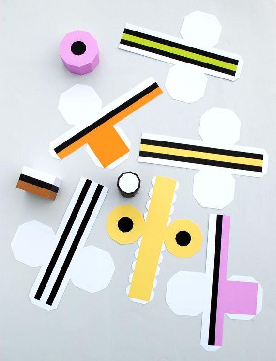 Paper Liquorice Allsorts // MiniEco // free templates