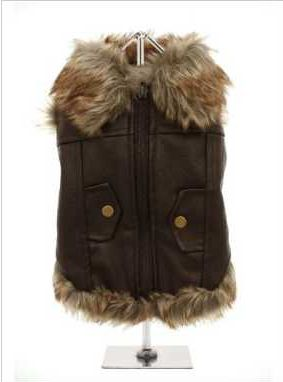 For the ultimate in dog coats, it has to be this Luxury Brown Leather and Fur Lined Coat. The front fastening zip makes it very easy to take on and off your pup. While, the faux fur edging gives a real fluffy effect for your pup. The two mock pockets on the back complete the look, and the fleece lining will keep your pup warm.