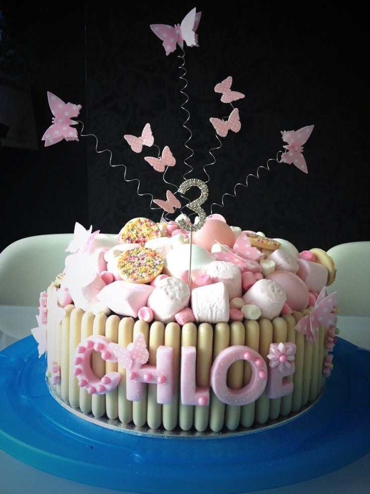 Marshmallows Chocolate Fingers Butterflies Glitter Pink cake!    Made by me.