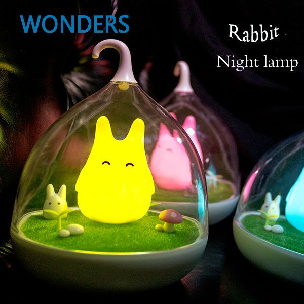 Cute Rechargeable LED The Spiderwick Lamp USB Micro rabit Landscape Night Light Touch Dimmer luminaria de mesa Christmas gift