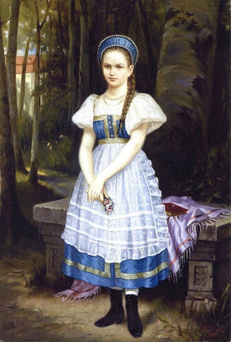 Russian costume in painting. Vladimir I. Gau. A Portrait of the Daughter. 1853. - the background
