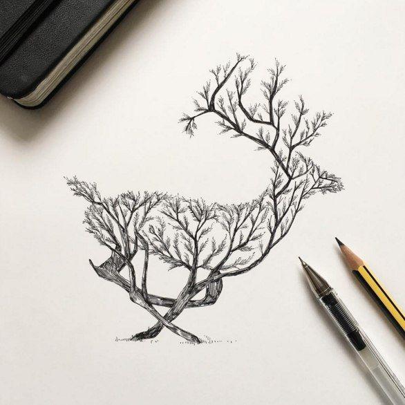 Черно-белый олень из веток деревьев