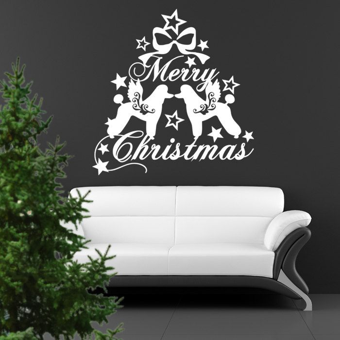 Poodle Christmas Dog Wall Decal , Dogs Angels - Good for Walls, Cars, Ipads, Mirrors Etc by PSIAKREW on Etsy