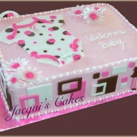 Pink and brown geometric baby shower cake