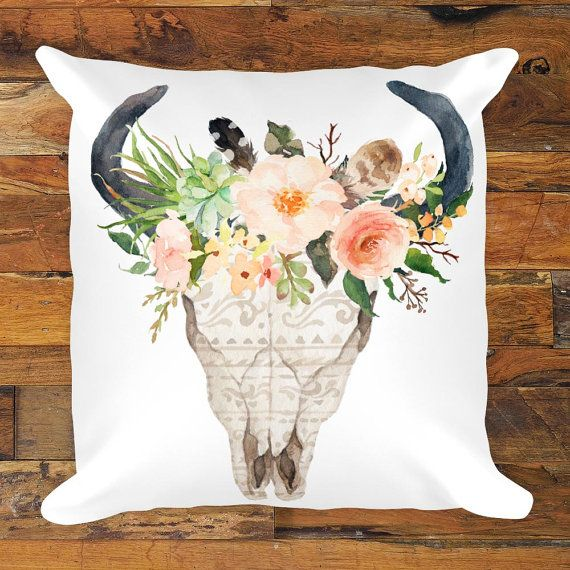 Bohemian cow skull pillow with feathers and flowers.  Update your decor with the trendiest BOHO designs.