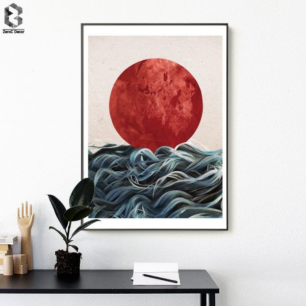 Abstract Japanese Sunrise Posters And Prints Wall Art Canvas Painting Pictures For Living Room Scand Japanese Wall Art Wall Art Canvas Painting Canvas Painting