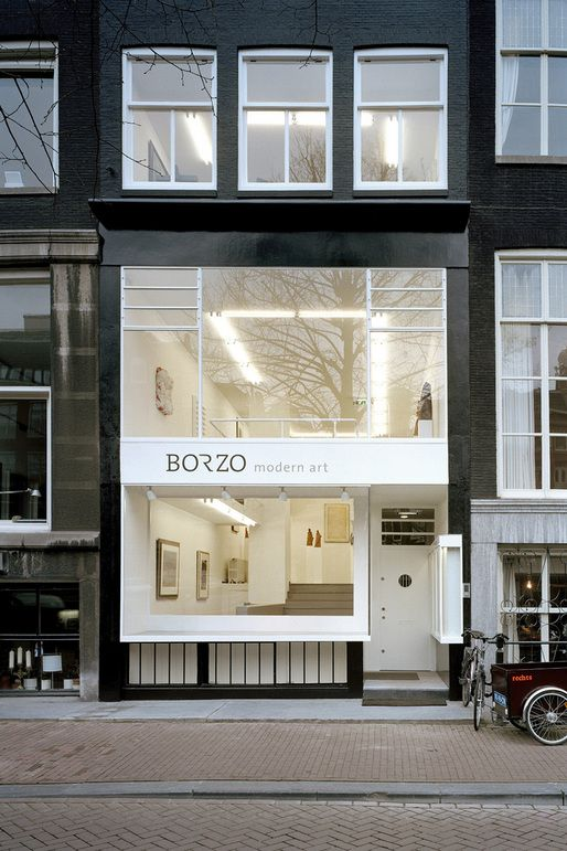 Borzo Galerie | Amsterdam | #architecture large and small opening balance metal framing black facade white frame