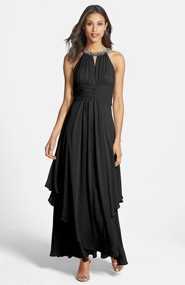 Free shipping and returns on Eliza J Embellished Tiered Chiffon Halter Gown at Nordstrom.com. An opulently embellished halter neckline anchors the ruched bodice and sweeping tiered skirt of a wispy chiffon gown, accentuated by a finely pleated Empire-waistband.