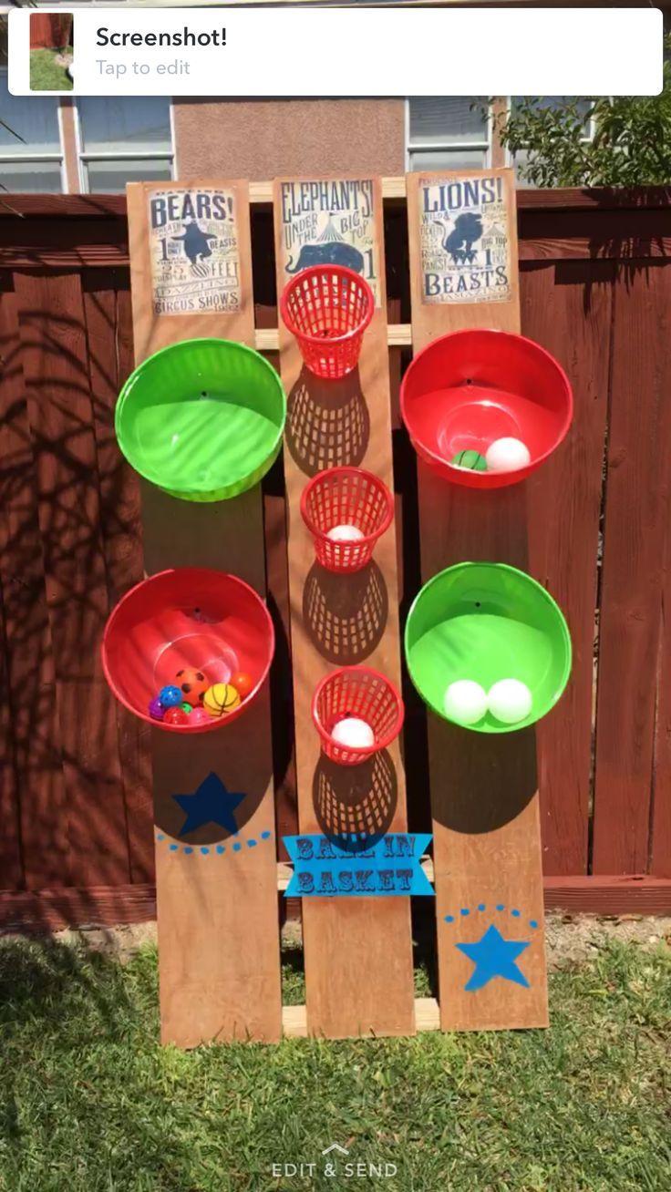 DIY Carnival Game, ball in basket, circus, 1st bir…