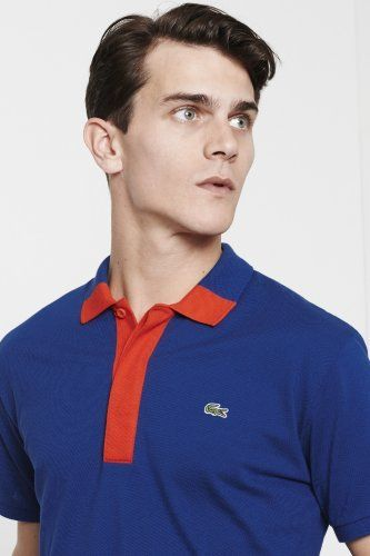 Lacoste Big Short Sleeve Hidden Placket Color Block Mini Pique Polo