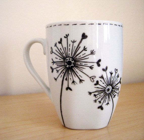 dandelions hand painted white ceramic mug - Coffee Mug Design Ideas