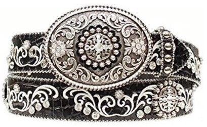 Ariat A1512801-L 1.5 in. Womens Croc Print Embroidered Bling Belt, Black - Large